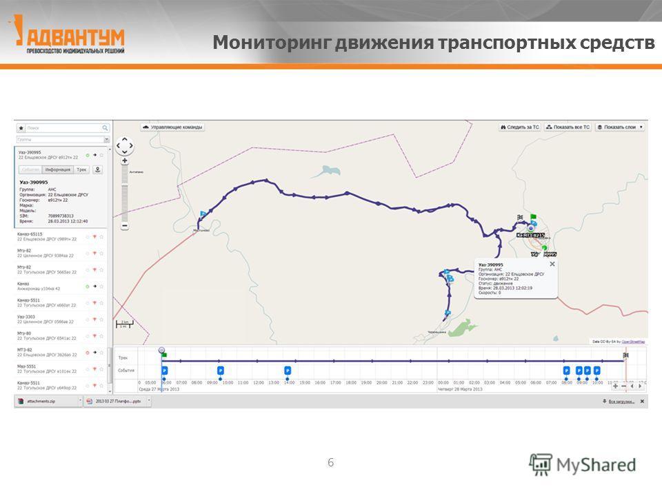 6 Мониторинг движения транспортных средств
