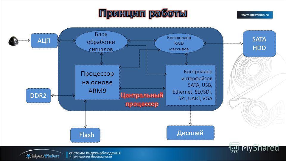 Блок обработки сигналов Процессор на основе ARM9 Контроллер RAID массивов Контроллер интерфейсов SATA, USB, Ethernet, SD/SDI, SPI, UART, VGA Дисплей DDR2 Flash SATA HDD АЦП
