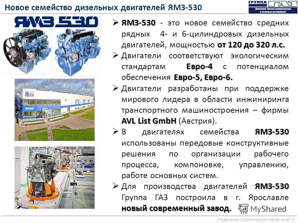 Управление стратегического маркетинга ©, 6 Новое семейство дизельных двигателей ЯМЗ-530 ЯМЗ-530 от 120 до 320 л.c. ЯМЗ-530 - это новое семейство средних рядных 4- и 6-цилиндровых дизельных двигателей, мощностью от 120 до 320 л.c. Евро-4 Евро-5, Евро-