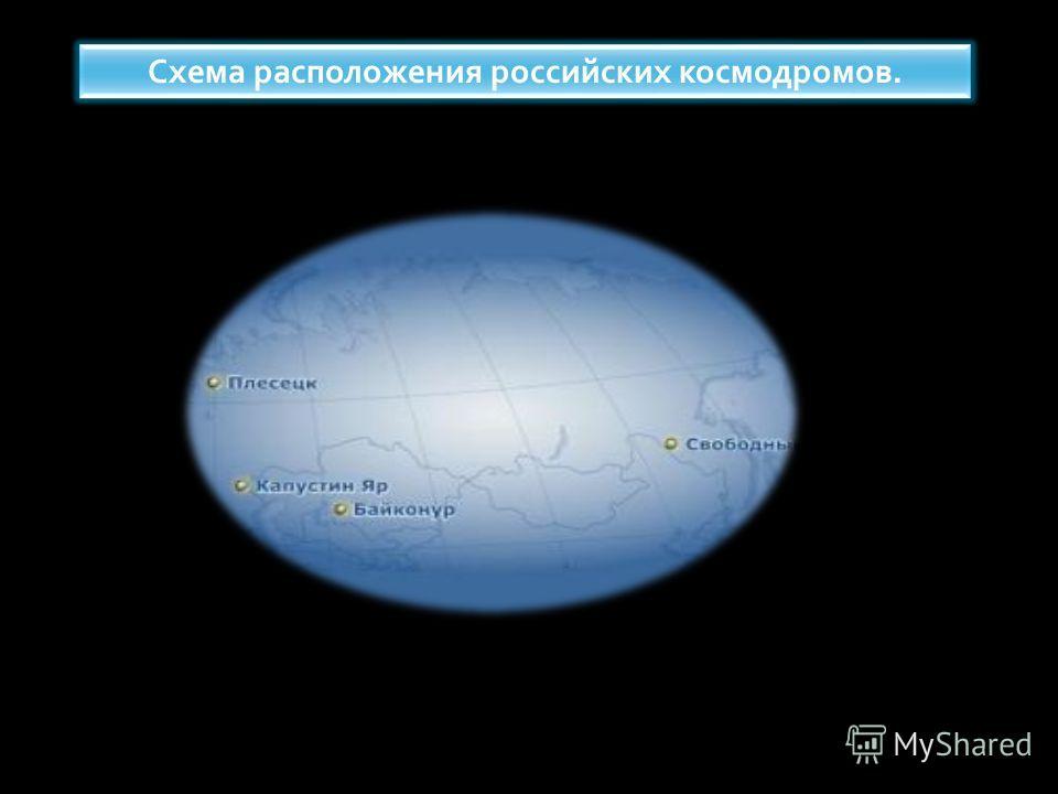 Схема расположения российских космодромов.