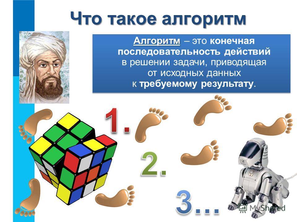 Что такое алгоритм Алгоритм Алгоритм – это конечная последовательность действий в решении задачи, приводящая от исходных данных к требуемому результату.