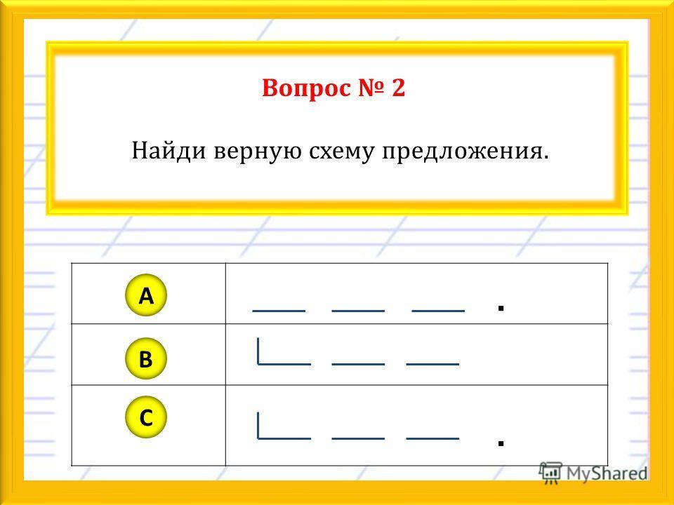 Вопрос 2 Найди верную схему