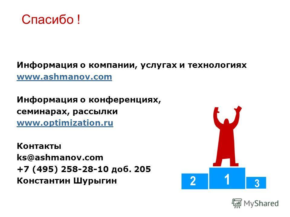 Спасибо ! Информация о компании, услугах и технологиях www.ashmanov.com Информация о конференциях, семинарах, рассылки www.optimization.ru Контакты ks@ashmanov.com +7 (495) 258-28-10 доб. 205 Константин Шурыгин