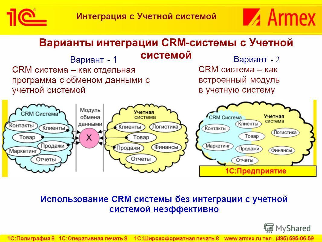 Интеграция c Учетной системой Использование CRM системы без интеграции с учетной системой неэффективно Вариант - 1 CRM система – как отдельная программа с обменом данными с учетной системой Вариант - 2 CRM система – как встроенный модуль в учетную си