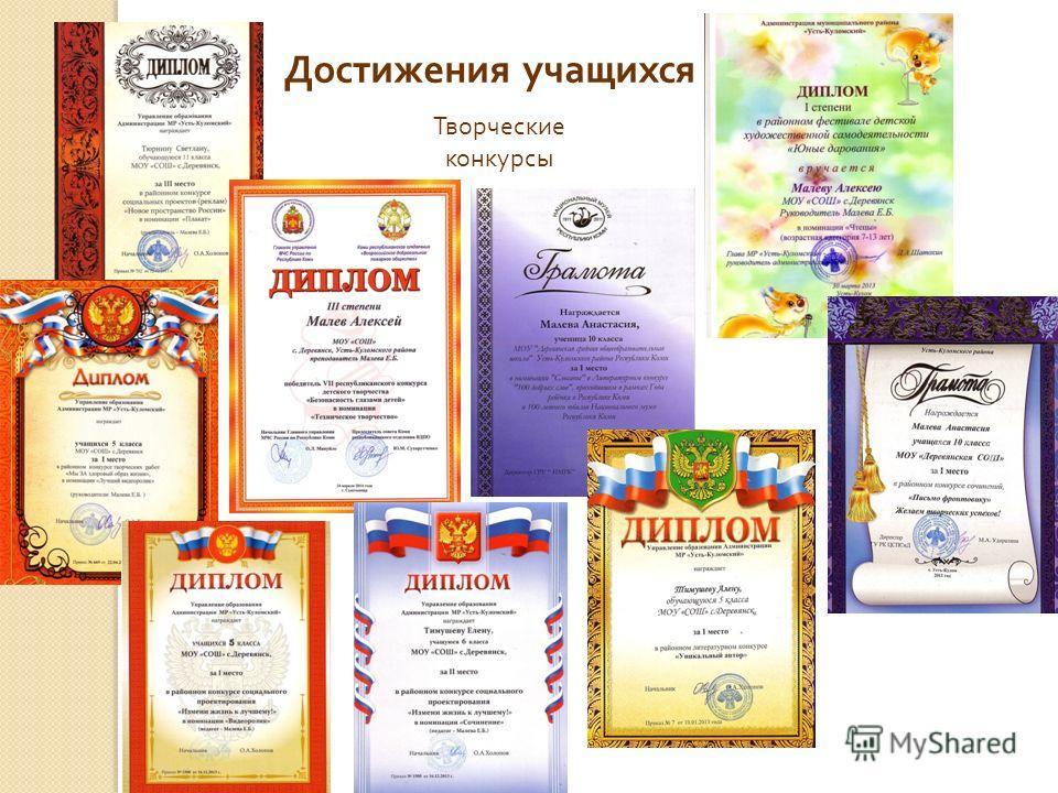 Достижения учащихся Творческие конкурсы