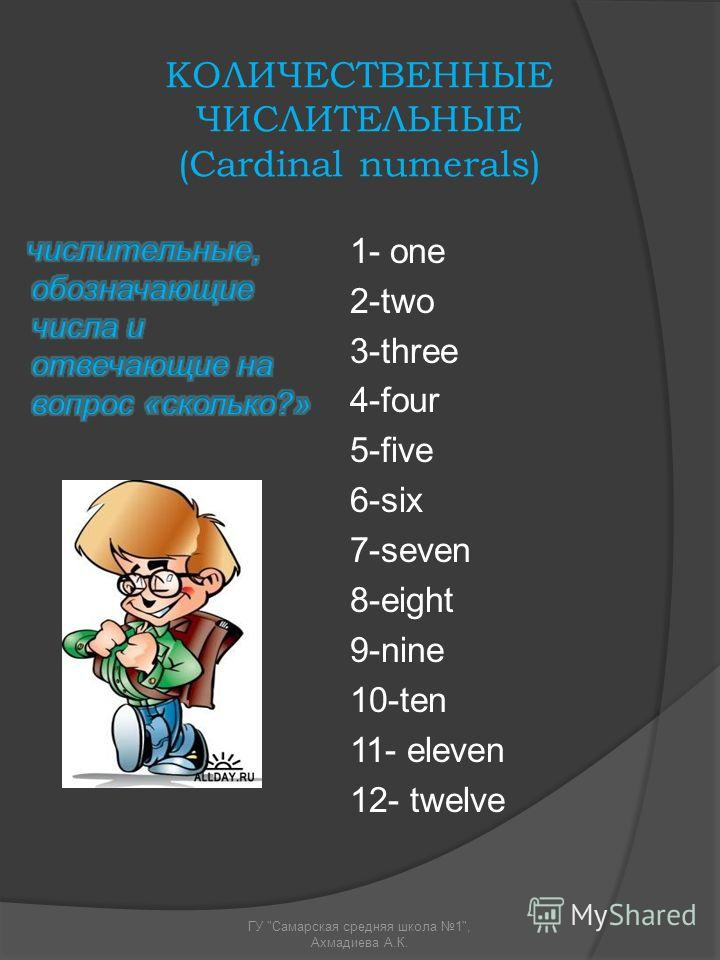 КОЛИЧЕСТВЕННЫЕ ЧИСЛИТЕЛЬНЫЕ (Cardinal numerals) 1- one 2-two 3-three 4-four 5-five 6-six 7-seven 8-eight 9-nine 10-ten 11- eleven 12- twelve ГУ Самарская средняя школа 1, Ахмадиева А.К.