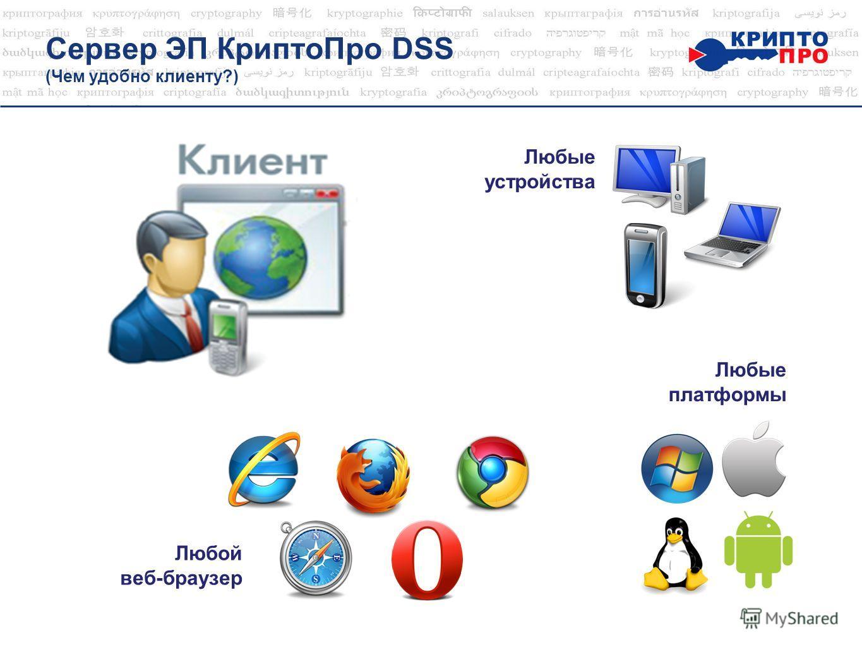 Сервер ЭП Крипто Про DSS (Чем удобно клиенту?) Любые устройства Любые платформы Любой веб-браузер