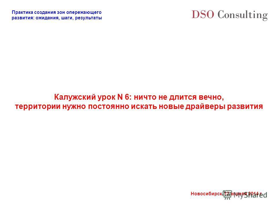 Практика создания зон опережающего развития: ожидания, шаги, результаты Новосибирск, 17 апреля 2014 г. Калужский урок N 6: ничто не длится вечно, территории нужно постоянно искать новые драйверы развития