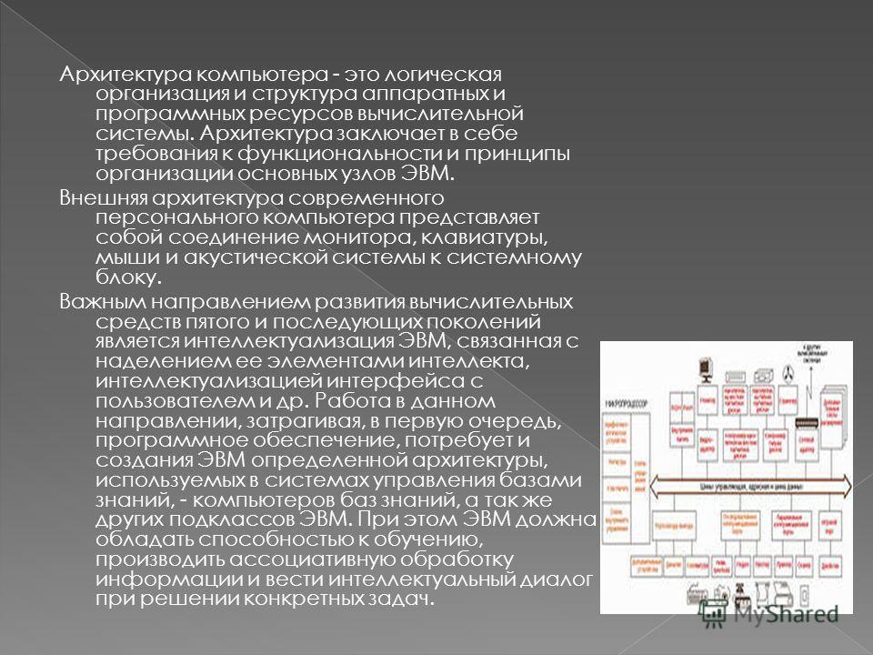 Архитектура компьютера - это логическая организация и структура аппаратных и программных ресурсов вычислительной системы. Архитектура заключает в себе требования к функциональности и принципы организации основных узлов ЭВМ. Внешняя архитектура соврем