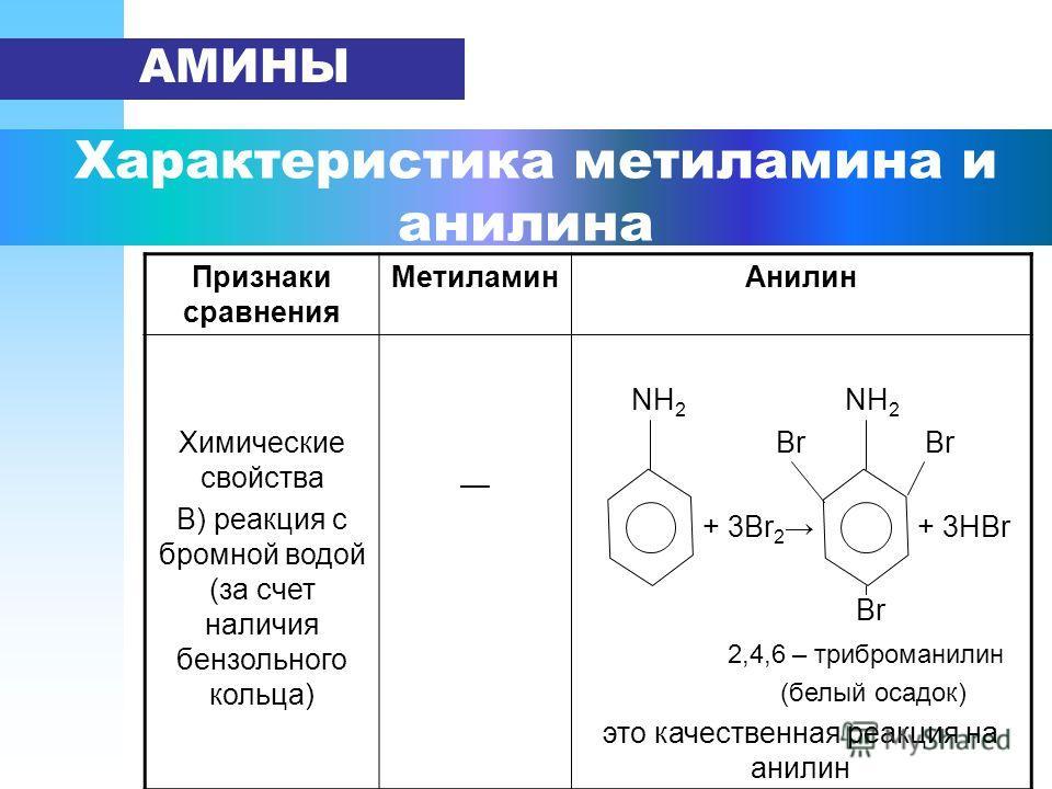 Характеристика метиламина и анилина АМИНЫ Признаки сравнения Метиламин Анилин Химические свойства В) реакция с бромной водой (за счет наличия бензольного кольца) NH 2 NH 2 Br Br + 3Br 2 + 3HBr Br 2,4,6 – триброманилин (белый осадок) это качественная