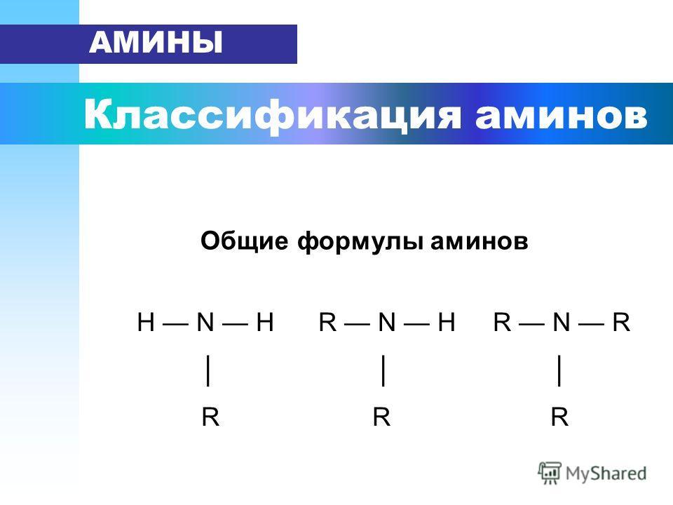 Классификация аминов АМИНЫ Н N H R N H R N R R R R Общие формулы аминов