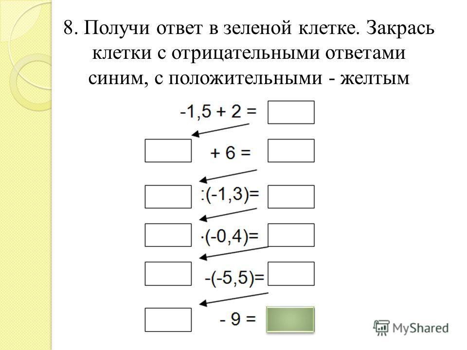8. Получи ответ в зеленой клетке. Закрась клетки с отрицательными ответами синим, с положительными - желтым