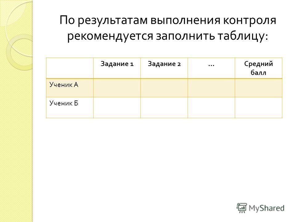 По результатам выполнения контроля рекомендуется заполнить таблицу : Задание 1 Задание 2 … Средний балл Ученик А Ученик Б