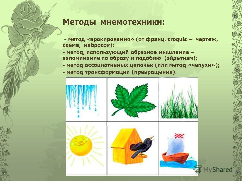 Методы мнемотехники: - метод «крокирования» (от франц. croquis – чертеж, схема, набросок); - метод, использующий образное мышление – запоминание по образу и подобию (эйдетизм); - метод ассоциативных цепочек (или метод «чепухи»); - метод трансформации