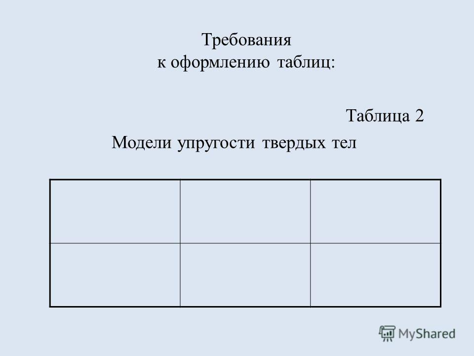 Требования к оформлению таблиц: Таблица 2 Модели упругости твердых тел