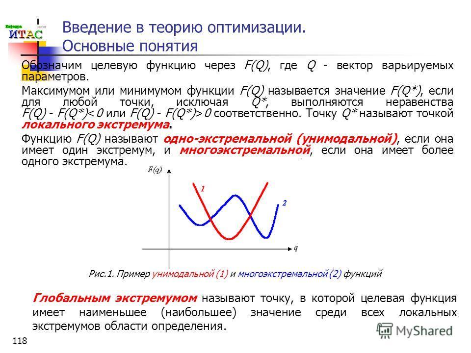 118 Введение в теорию оптимизации. Основные понятия Обозначим целевую функцию через F(Q), где Q - вектор варьируемых параметров. Максимумом или минимумом функции F(Q) называется значение F(Q*), если для любой точки, исключая Q*, выполняются неравенст