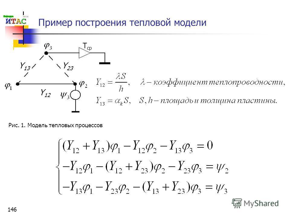 146 Пример построения тепловой модели Y 13 Y 12 Y 23 T ср Рис. 1. Модель тепловых процессов