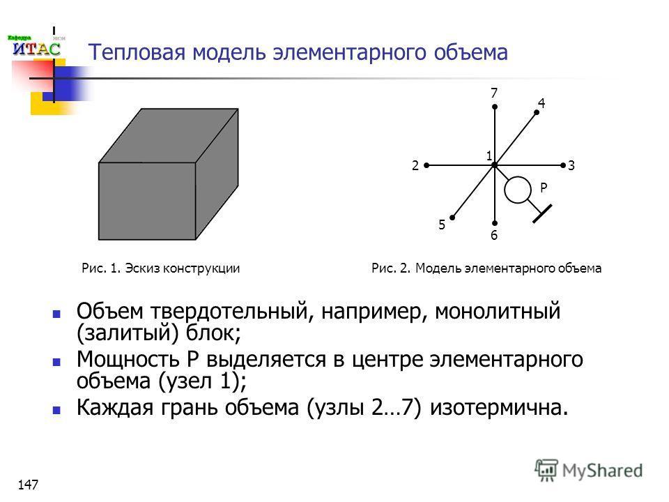 147 Тепловая модель элементарного объема Объем твердотельный, например, монолитный (залитый) блок; Мощность Р выделяется в центре элементарного объема (узел 1); Каждая грань объема (узлы 2…7) изотермична. 1 2 4 3 P 5 6 7 Рис. 1. Эскиз конструкции Рис