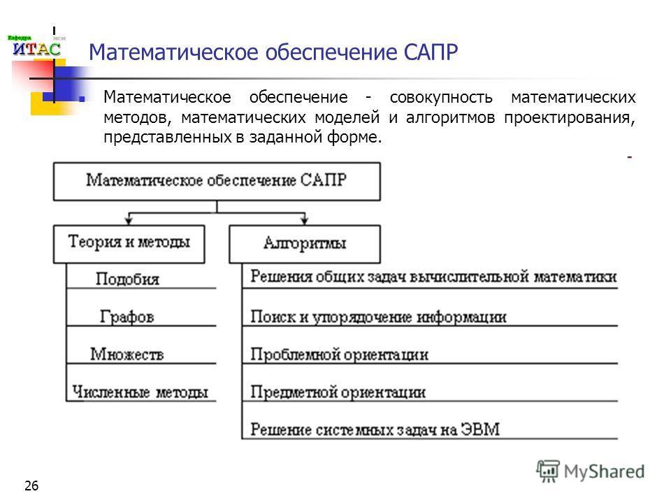 26 Математическое обеспечение САПР Математическое обеспечение - совокупность математических методов, математических моделей и алгоритмов проектирования, представленных в заданной форме.
