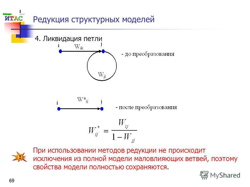 69 Редукция структурных моделей 4. Ликвидация петли При использовании методов редукции не происходит исключения из полной модели маловлияющих ветвей, поэтому свойства модели полностью сохраняются.