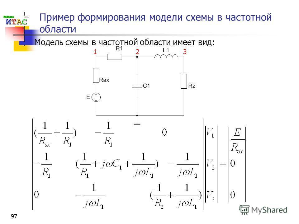 97 Пример формирования модели схемы в частотной области Модель схемы в частотной области имеет вид: 123