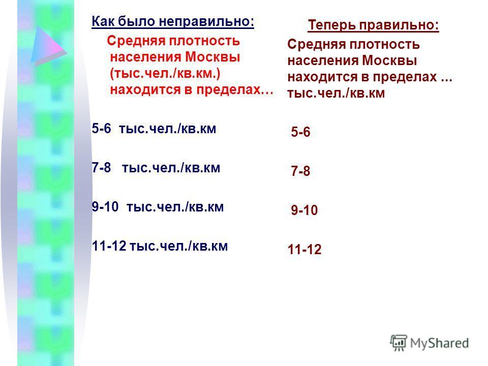 Как было неправильно: Средняя плотность населения Москвы (тыс.чел./кв.км.) находится в пределах… 5-6 тыс.чел./кв.км 7-8 тыс.чел./кв.км 9-10 тыс.чел./кв.км 11-12 тыс.чел./кв.км Теперь правильно: Средняя плотность населения Москвы находится в пределах.