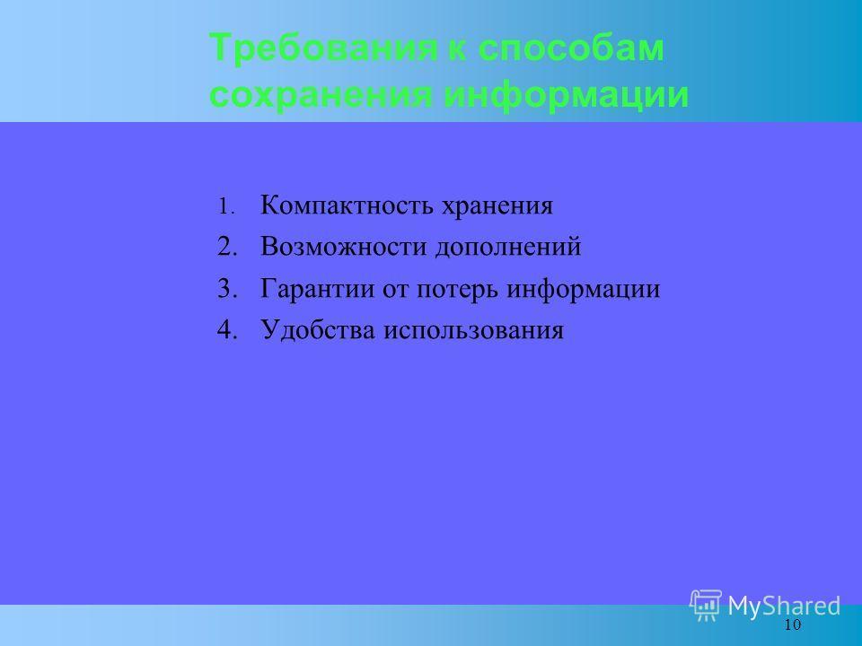 10 Требования к способам сохранения информации 1. Компактность хранения 2. Возможности дополнений 3. Гарантии от потерь информации 4. Удобства использования