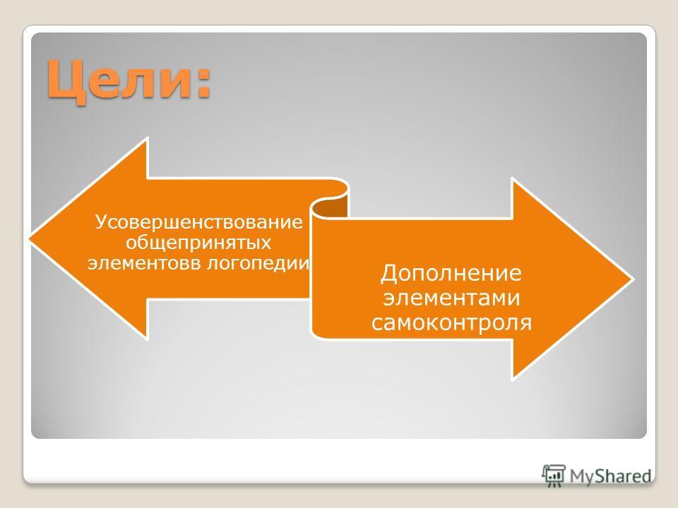 Цели: Усовершенствование общепринятых элементовв логопедии Дополнение элементами самоконтроля