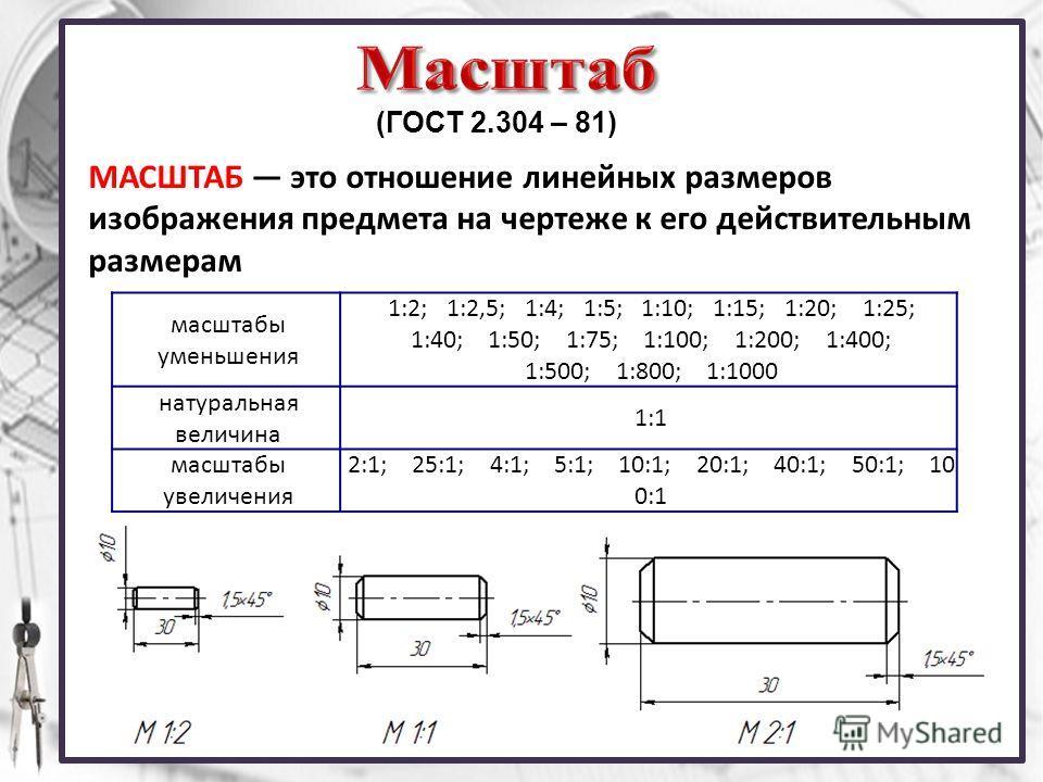 (ГОСТ 2.304 – 81) МАСШТАБ это отношение линейных размеров изображения предмета на чертеже к его действительным размерам масштабы уменьшения 1:2; 1:2,5; 1:4; 1:5; 1:10; 1:15; 1:20; 1:25; 1:40; 1:50; 1:75; 1:100; 1:200; 1:400; 1:500; 1:800; 1:1000 нату