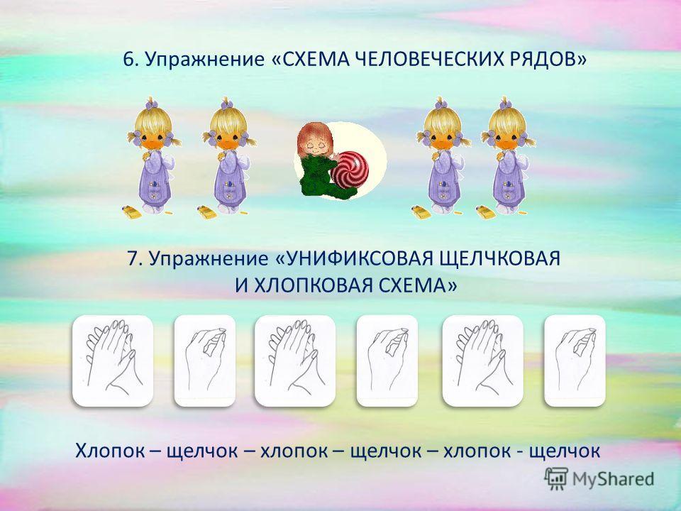 4. Упражнение «СХЕМА УНИФИКС - 1»: 5. Упражнение «СХЕМА УНИФИКС2»: 1-я подгруппа: Хлопок, хлопок – щелчок – хлопок, хлопок, щелчок – хлопок, хлопок Щелчок – хлопок – щелчок - хлопок Щелчок – щелчок – щелчок - хлопок