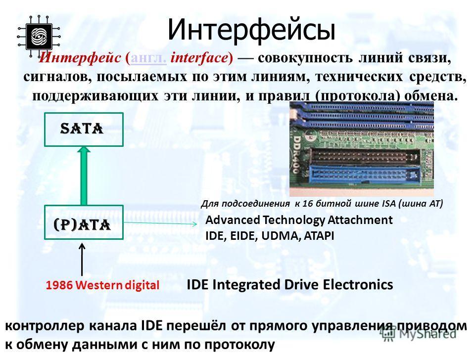 Интерфейсы 1 Интерфейс (англ. interface) совокупность линий связи, сигналов, посылаемых по этим линиям, технических средств, поддерживающих эти линии, и правил (протокола) обмена.англ. SATA (P)ATA Advanced Technology Attachment IDE, EIDE, UDMA, ATAPI