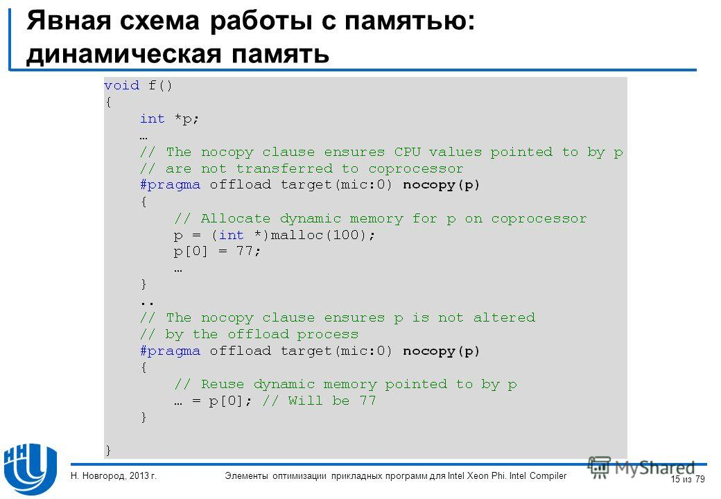 Явная схема работы с памятью: динамическая память Элементы оптимизации прикладных программ для Intel Xeon Phi. Intel Compiler Н. Новгород, 2013 г. 15 из 79