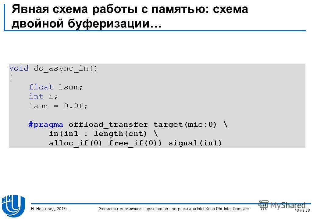 Явная схема работы с памятью: схема двойной буферизации… Элементы оптимизации прикладных программ для Intel Xeon Phi. Intel Compiler Н. Новгород, 2013 г. 19 из 79