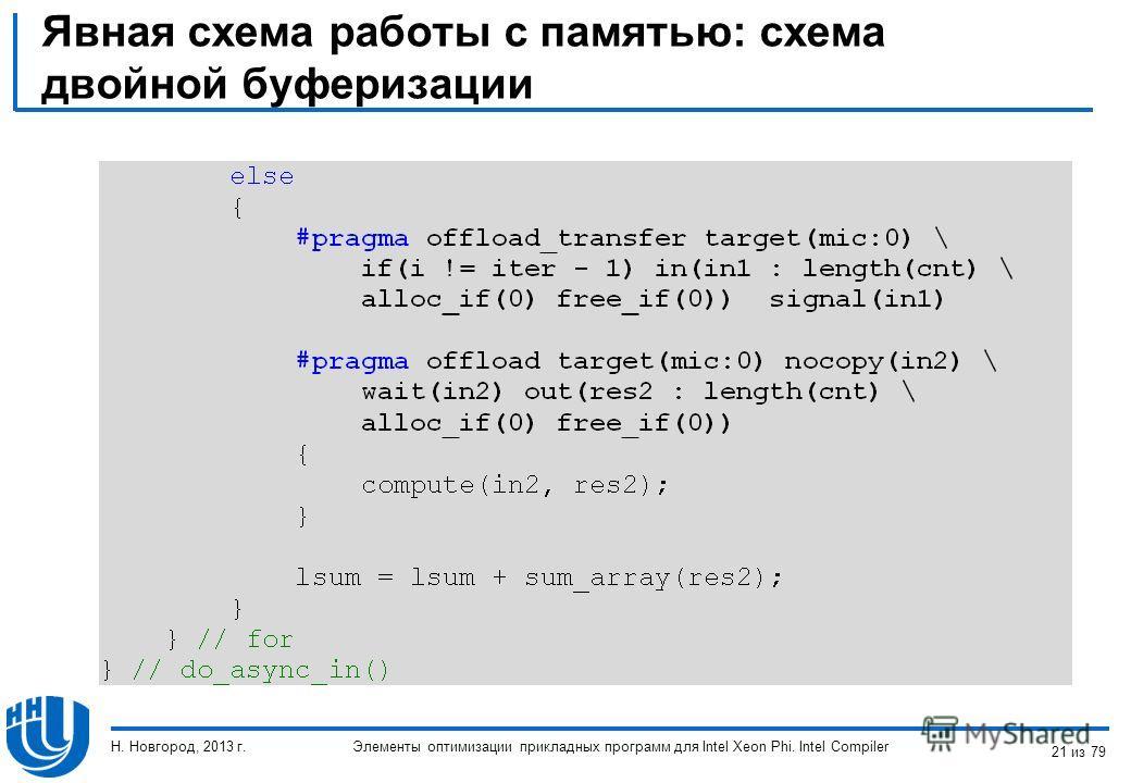Явная схема работы с памятью: схема двойной буферизации Элементы оптимизации прикладных программ для Intel Xeon Phi. Intel Compiler Н. Новгород, 2013 г. 21 из 79