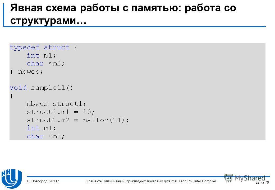Явная схема работы с памятью: работа со структурами… Элементы оптимизации прикладных программ для Intel Xeon Phi. Intel Compiler Н. Новгород, 2013 г. 22 из 79
