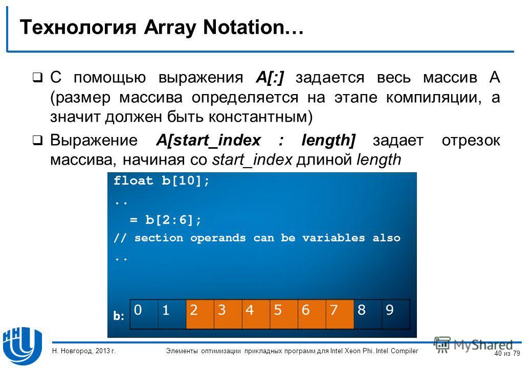 Технология Array Notation… C помощью выражения A[:] задается весь массив A (размер массива определяется на этапе компиляции, а значит должен быть константным) Выражение A[start_index : length] задает отрезок массива, начиная со start_index длиной len