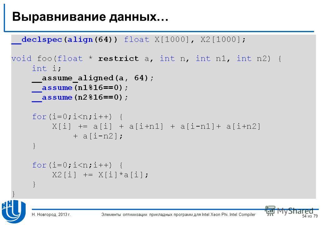 Выравнивание данных… Элементы оптимизации прикладных программ для Intel Xeon Phi. Intel Compiler Н. Новгород, 2013 г. 54 из 79