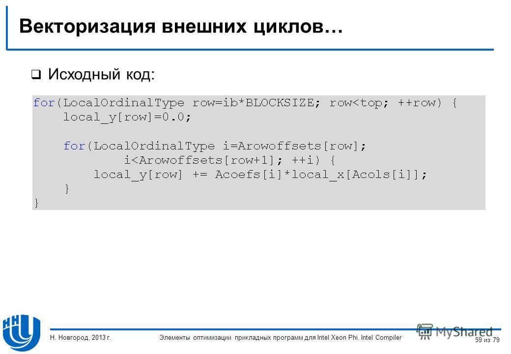 Векторизация внешних циклов… Исходный код: Элементы оптимизации прикладных программ для Intel Xeon Phi. Intel Compiler Н. Новгород, 2013 г. 59 из 79