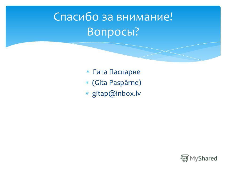 Гита Паспарне (Gita Paspārne) gitap@inbox.lv Спасибо за внимание! Вопросы?