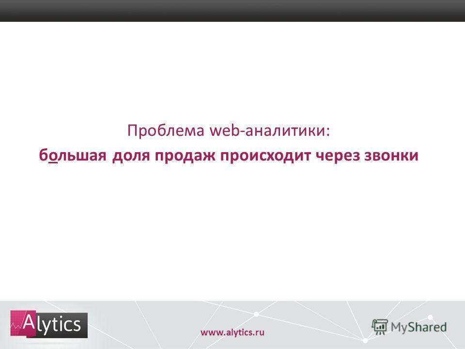 www.alytics.ru Проблема web-аналитики: большая доля продаж происходит через звонки