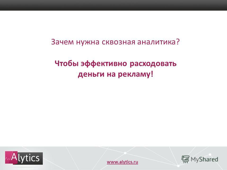 www.alytics.ru Зачем нужна сквозная аналитика? Чтобы эффективно расходовать деньги на рекламу!