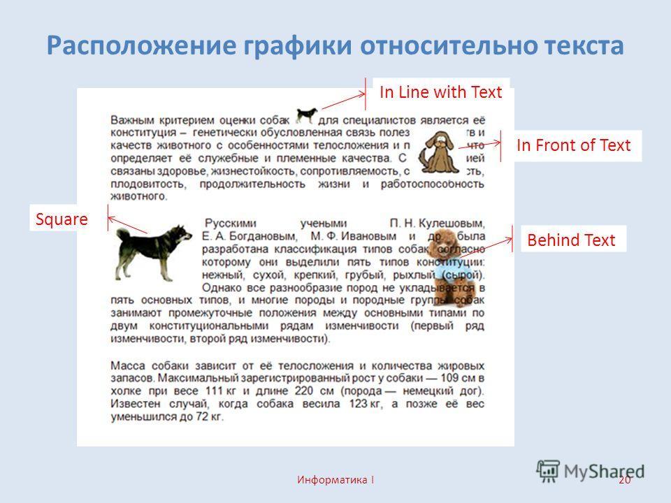 Расположение графики относительно текста Информатика I20 In Line with Text Behind Text In Front of Text Square