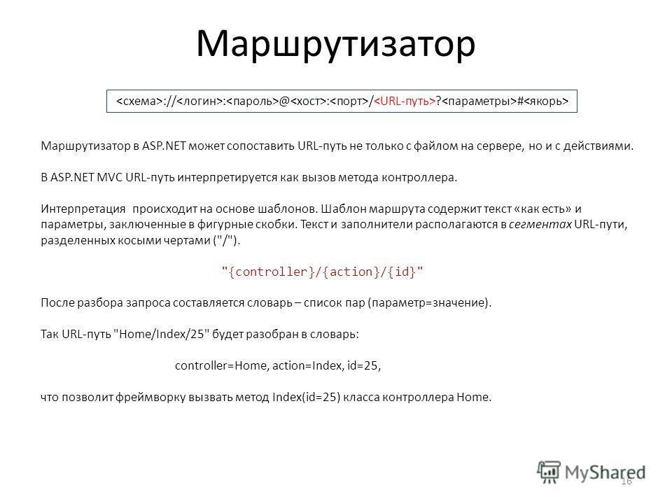 Маршрутизатор 16 :// : @ : / ? # Маршрутизатор в ASP.NET может сопоставить URLпуть не только с файлом на сервере, но и с действиями. В ASP.NET MVC URLпуть интерпретируется как вызов метода контроллера. Интерпретация происходит на основе шаблонов. Шаб