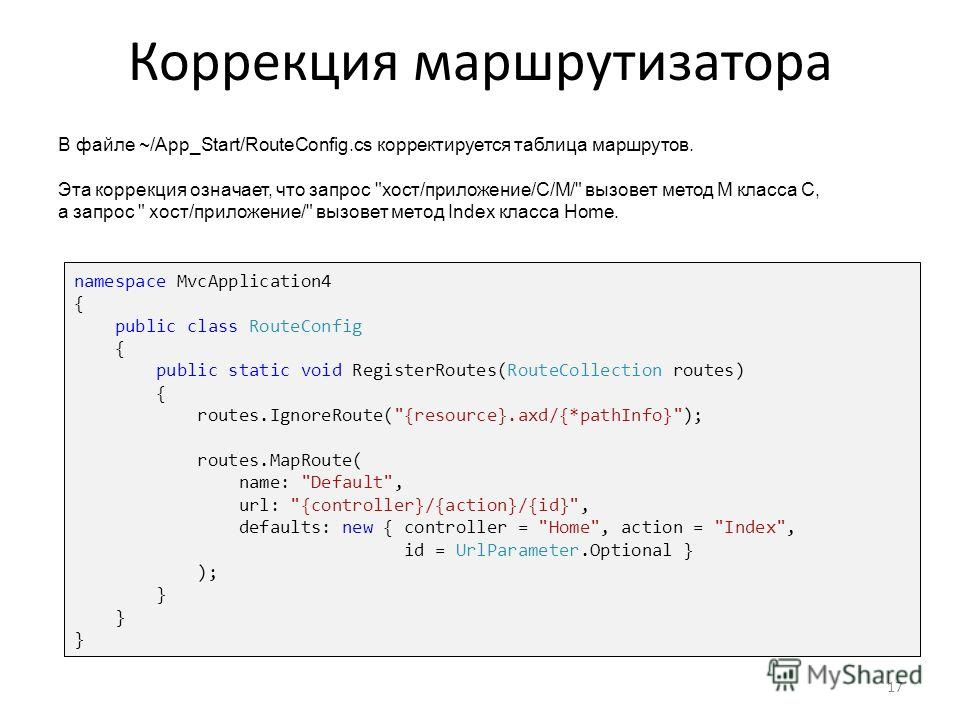 Коррекция маршрутизатора 17 namespace MvcApplication4 { public class RouteConfig { public static void RegisterRoutes(RouteCollection routes) { routes.IgnoreRoute(