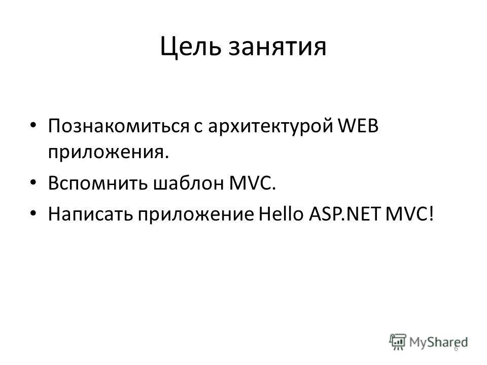 Цель занятия Познакомиться с архитектурой WEB приложения. Вспомнить шаблон MVC. Написать приложение Hello ASP.NET MVC! 6