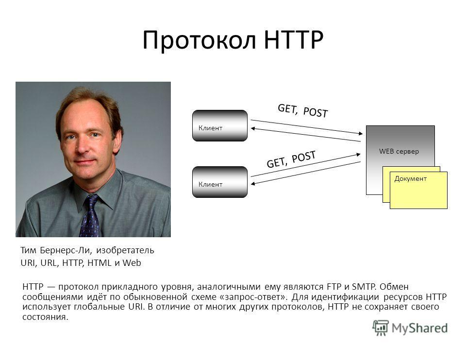 Протокол HTTP HTTP протокол прикладного уровня, аналогичными ему являются FTP и SMTP. Обмен сообщениями идёт по обыкновенной схеме «запрос-ответ». Для идентификации ресурсов HTTP использует глобальные URI. В отличие от многих других протоколов, HTTP