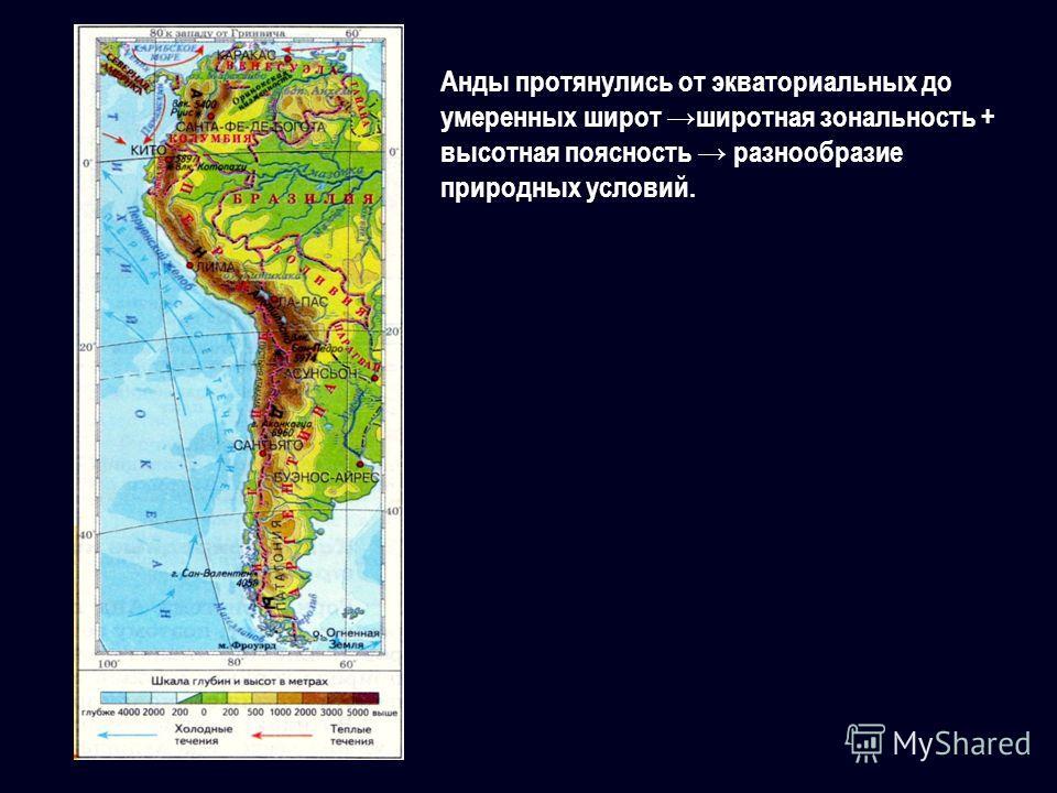 Анды протянулись от экваториальных до умеренных широт широтная зональность + высотная поясность разнообразие природных условий.