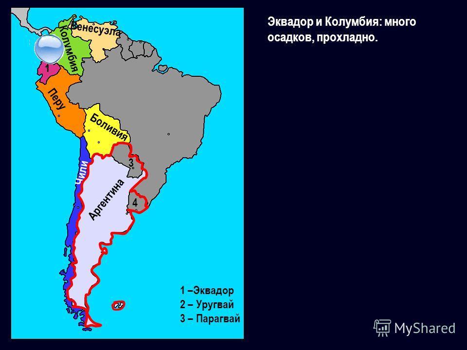 Эквадор и Колумбия: много осадков, прохладно. Перу Боливия Чили 1 –Эквадор 2 – Уругвай 3 – Парагвай 1 Колумбия Венесуэла Аргентина 3 4