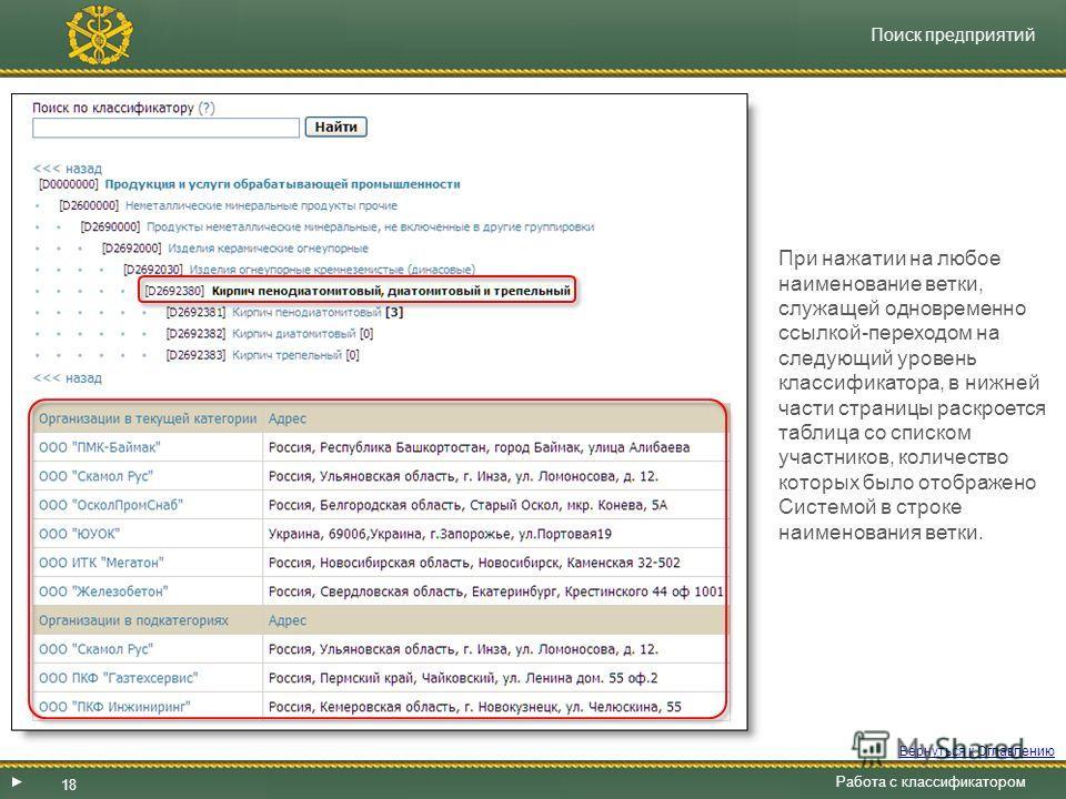 18 Поиск предприятий Работа с классификатором Система предоставляет возможность получить из базы данных ТС «Оборонторг» список участников, которые отклассифицировались в своих Личных кабинетах по интересующим данную организацию категориям товаров, ра
