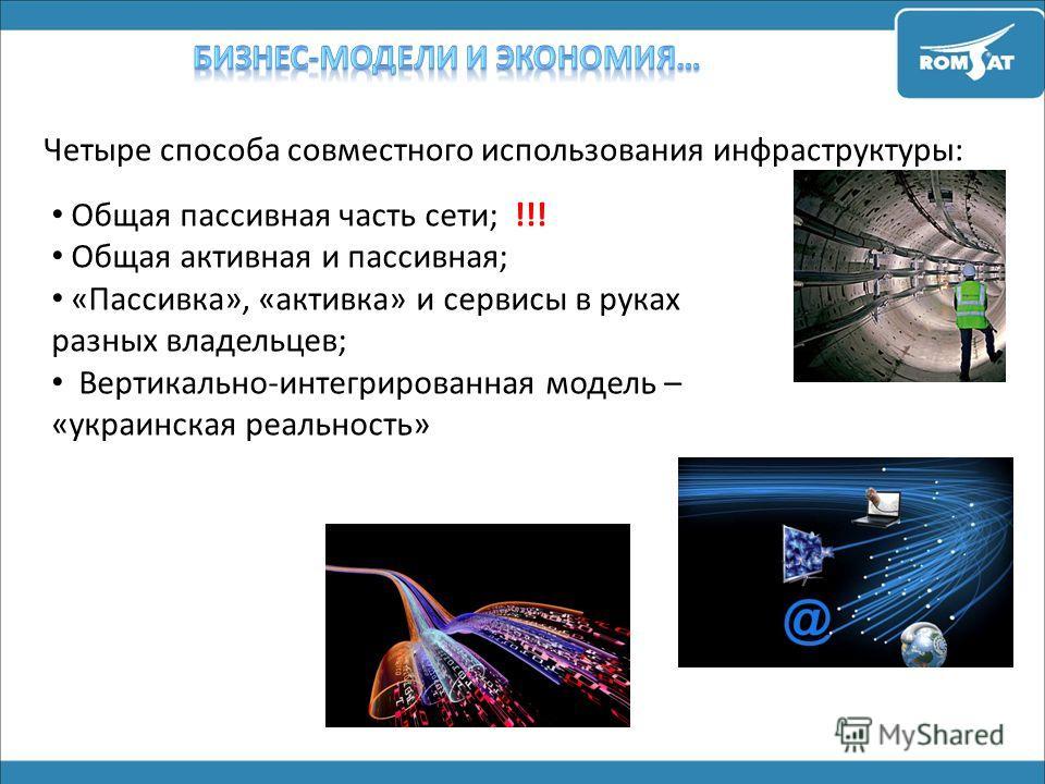 Четыре способа совместного использования инфраструктуры: Общая пассивная часть сети; !!! Общая активная и пассивная; «Пассивка», «активка» и сервисы в руках разных владельцев; Вертикально-интегрированная модель – «украинская реальность»
